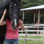馬と飼い主の写真